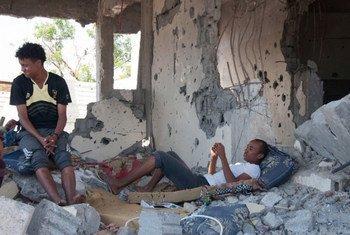 Les dégâts causés aux infrastructures en raison des combats entre les forces gouvernementales et les rebelles sont très importants dans certains régions du Yémen. Photo OCHA/EmanAl-Awami
