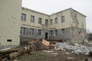Dégâts causés par les affrontements dans l'est de l'Ukraine. Photo PNUD Ukraine