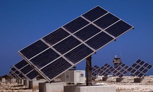 Photo Voltaic Panels equipped with built-in tracking technology, enabling the panels to follow the path of the sun, thereby increasing their efficiency, at UNIFIL Headquarters in Naqoura, Lebanon.