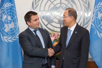 Le Secrétaire général de l'ONU, Ban Ki-moon, rencontre le Ministre des affaires étrangères de l'Ukraine, Pavlo Klimkin. Photo : ONU/Eskinder Debebe