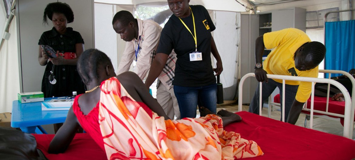 A patient at a health clinic in a Protection of Civilian (POC) site in Bor, South Sudan.
