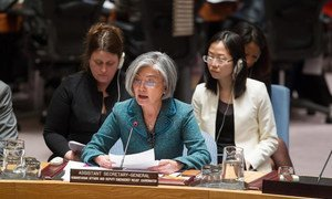 Assistant Secretary-General for Humanitarian Affairs and Deputy Emergency Relief Coordinator, Kyung-Wha Kang briefs the Security Council.