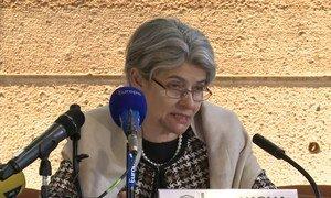 Director General of UNESCO, Irina Bokova briefs the press on the destruction of Heritage in Mosul, Iraq.