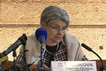 La Directrice générale de l'Organisation des Nations Unies pour l'éducation, la science et la culture (UNESCO), Irina Bokova, s'exprime devant la presse. Photo : UNESCO capture d'écran vidéo