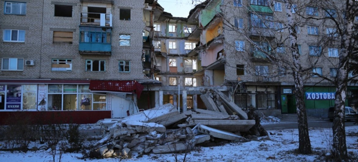 A reminder of the deadly destruction in the conflict in Mykolaivka in the Donetsk region of eastern Ukraine.