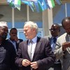 UN envoy for Somalia, Nicholas Kay (centre), welcomes state building progress during a visit to Kismayo.