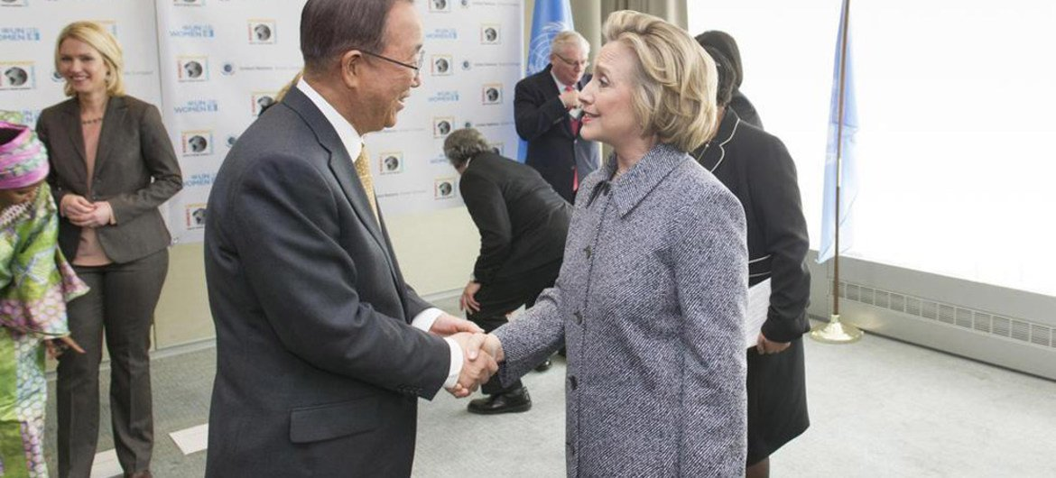 Secretary-General Ban Ki-moon (left) meets with former United States Secretary of State, Hillary Rodham Clinton, at the 59th Commission on the Status of Women side-line gathering.