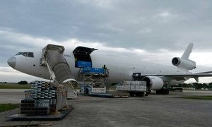 This plane at the UN Humanitarian Response Depot (UNHRD) in Italy is bound for Sierra Leone with $300,000 worth of World Food Programme (WFP) equipment to tackle the Ebola outbreak.