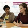 UN Women Executive Director Phumzile Mlambo-Ngcuka (left) and actress Geena Davis, founder and chair of the Geena Davis Institute on Gender in Media.
