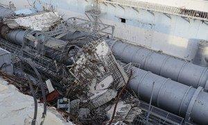 2011年地震和海啸造成福岛第一核电站损毁后的瓦砾。