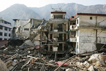 The aftermath of an earthquake in Sichuan Province, China, in 2008.