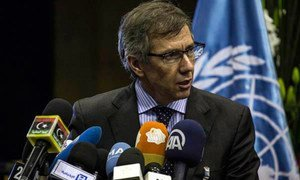 Special Representative and head of the UN Support Mission in Libya (UNSMIL) Bernardino León briefs the press in Morocco.