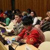 Participants at an intergenerational dialogue hosted by UN Women.