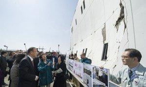 Secretary-General Ban Ki-moon visits site of Minami Gamo Wastewater Treatment Plant in Sendai, Japan, impacted by 2011 earthquake and tsunami.