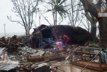 Damage seen on Saturday 14 March 2015 in Port Vila, capital of Vanuatu, after Cyclone Pam moved through the Archipelago.