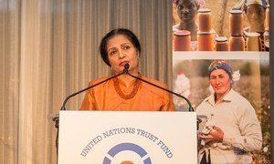 UN Women Deputy Executive Director Lakshmi Puri speaks during the first-ever awards ceremony of the UN Trust Fund to End Violence against Women.