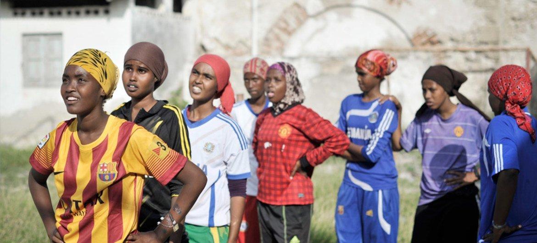 Girls line up during a basketball drill in Mogadishu, Somalia.