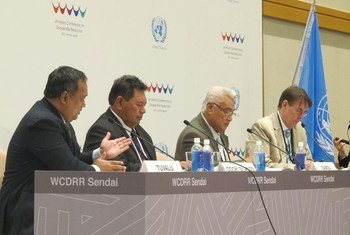Pacific Island leaders brief press at Third World Conference on Disaster Risk Reduction in Sendai, Japan. Left to right: Ambassador Aunese Makoi Simati of Tuvalu; Foreign Minister Tai Tura of the Cook Islands, and Faamoetauloa Tumaalii, Minister of Natural Resources and Environment of Samoa.