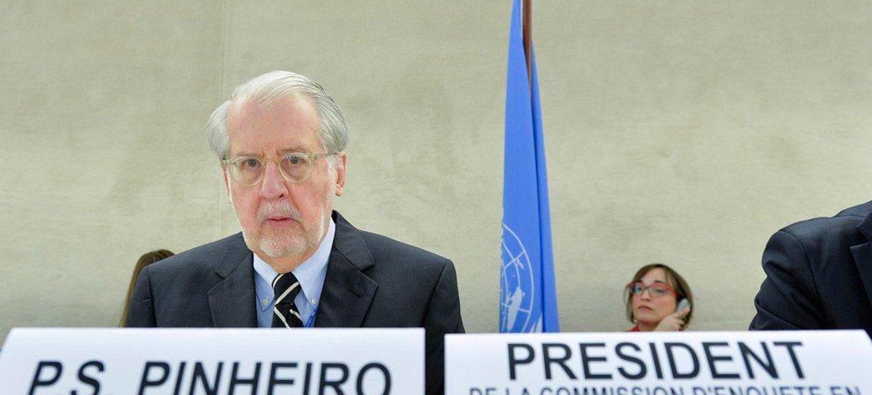 Paulo Pinheiro en el Consejo de Derechos Humanos. Foto: ONU/Jean-Marc Ferré