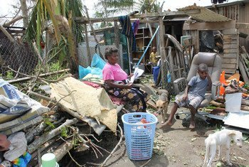 This family in Nikinini community, Vanuatu, lost everything during the passage of Super Cyclone Pam.