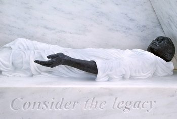 A close-up from the memorial on the legacy of slavery.