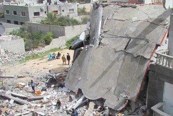 Destrucción en Gaza por bombardeos israelíes. Foto: OCHA/M. El Halab
