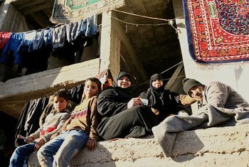 Residents of the Tesreen Camp in Aleppo, Syria.