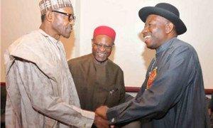 Le Président sortant Goodluck Jonathan (à droite) et le général à la retraite Muhammadu Buhari, les deux principaux candidats à l'élection présidentielle de 2015 au Nigéria. Photo PNUD Nigéria