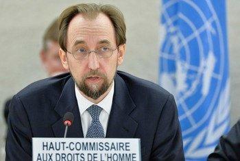 """人权高专扎伊德在人权理事会上有关""""博科圣地""""问题的会议上发表讲话。联合国资料图片/Jean-Marc Ferré"""