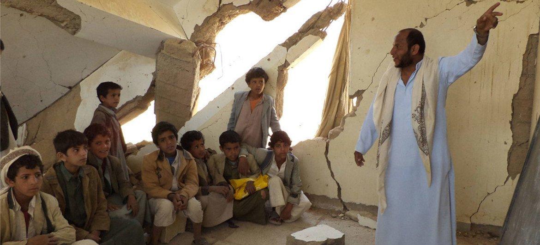 Йеменские дети на занятиях ФОТО ЮНИСЕФ