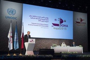 联合国秘书长潘基文在卡塔尔多哈开幕的第十三届联合国犯罪预防和刑事司法大会上致辞/Eskinder Debebe
