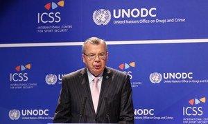 Le Directeur exécutif de l'ONUDC, Yury Fedotov, lors d'un événement spécial visant à mettre fin aux matchs truqués dans le sport. Photo : DPI / 'ONU