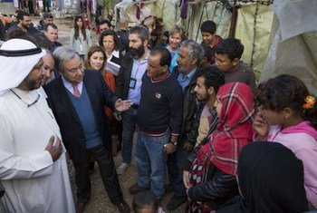 High Commissioner for Refugees António Guterres and Humanitarian Envoy for Kuwait Abdullah Al-Matouq (left) visit an Informal Settlement for Syrian refugees near Ghaziye, southern Lebanon.