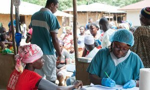 In Ebola-affected Liberia, the International Organization for Migration (IOM) set up this mobile clinic to provide basic healthcare services to about 1400 people in Gbaigbon and neighboring communities in Bomi County.