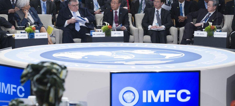 Secretary-General Ban Ki-moon speaks at the International Monetary and Finance Committee Meeting in Washington, D.C. April 2015.