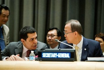 潘基文秘书长与不同文明联盟高级代表纳赛尔。联合国图片/Mark Garten