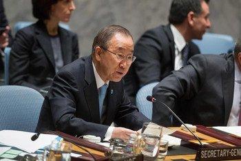潘基文秘书长在安理会发言。联合国图片/Loey Felipe