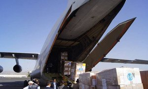 A WHO shipment of 17 tonnes of medicines, medical and surgical supplies arrives in Sana'a, Yemen.