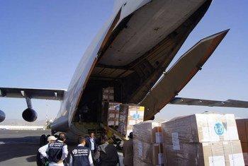 Une cargaison de médicaments et de fournitures médicales de l'OMS arrivant à Sanaa, au Yémen. Photo OMS Yémen