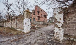 Un hôpital à Sloviansk, en Ukraine, détruit par les bombardements. Photo : UNICEF Ukraine / Pavel Zmey