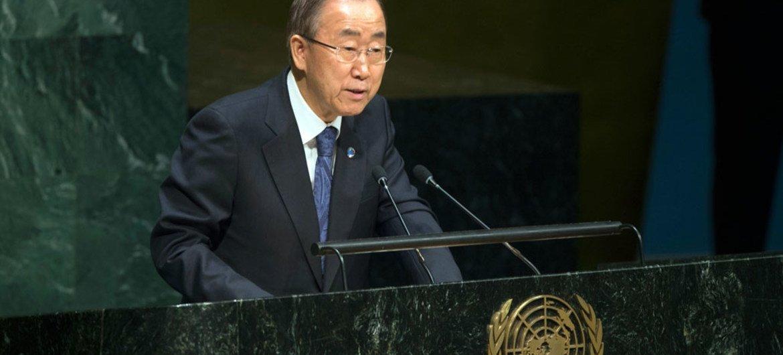 Le Secrétaire général Ban Ki-moon lors du débat de l'Assemblée générale sur la promotion de la tolérance. Photo ONU/Eskinder Debebe