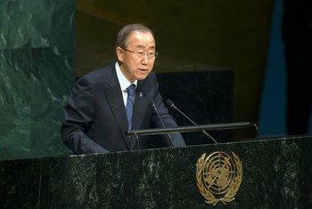 潘基文秘书长联大发表讲话。联合国图片/Eskinder Debebe