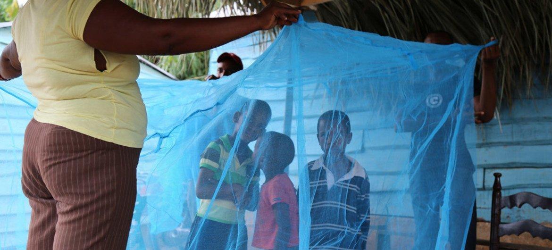 Des enfants entourés d'un filet de protection contre le paludisme en République dominicaine. Photo : OMS / OPS