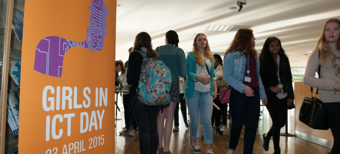 Participants arrive at Girls in ICT Day 2015, which was held at ITU Headquarters, Geneva.