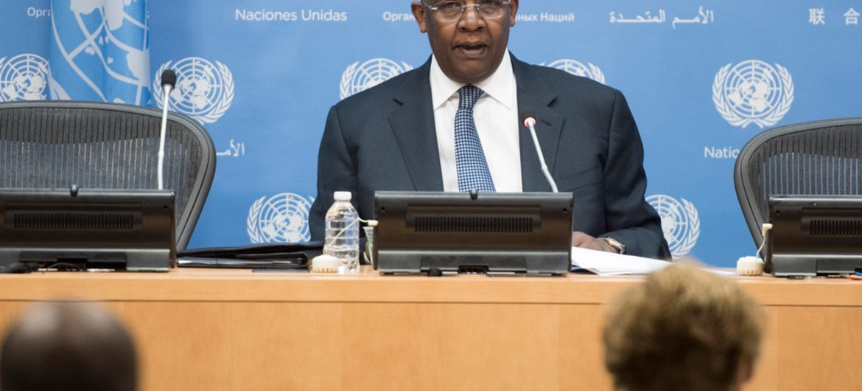 General Assembly President Sam Kutesa addresses a press conference.