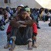 Des migrants dans un centre de détention à Zawiya, en Libye (avril 2015).