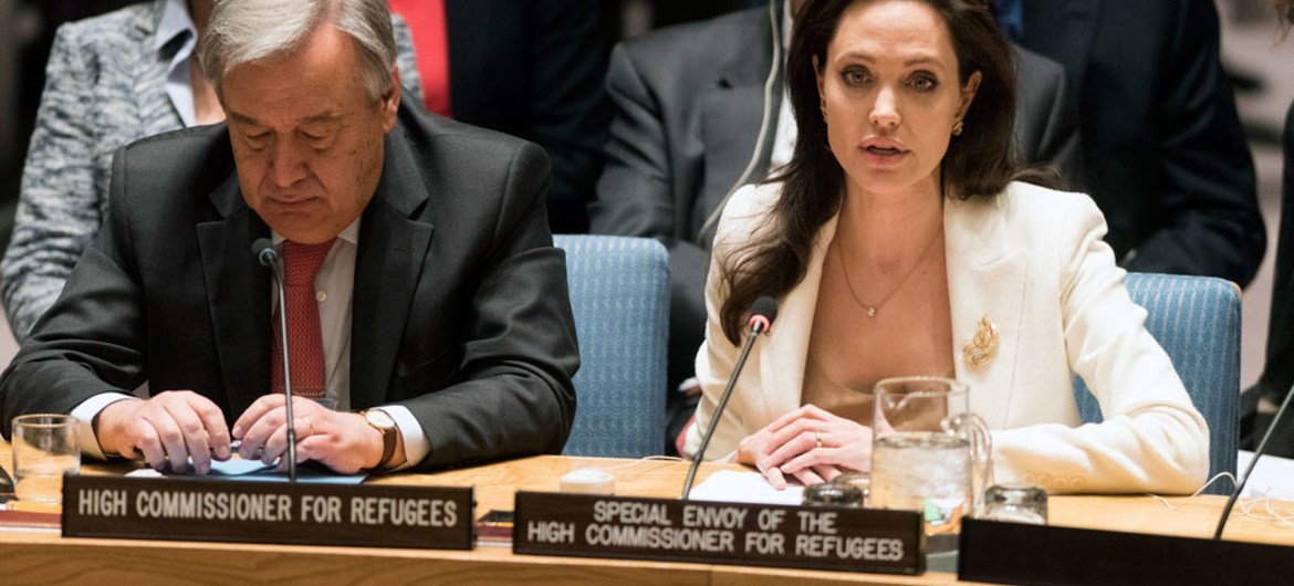 Angelina Jolie, Special Envoy of the UN High Commissioner for Refugees (UNHCR), addresses the Security Council on the continuing conflict in Syria and the humanitarian and refugee crises.