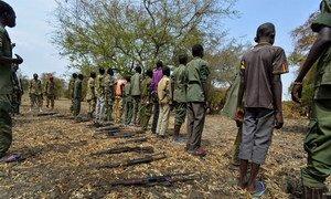 Des enfants rendent leurs armes lors d'une cérémonie formalisant leur démobilisation du groupe armé SSDA Faction Cobra, à Pibor, au Soudan du Sud (février 2015).