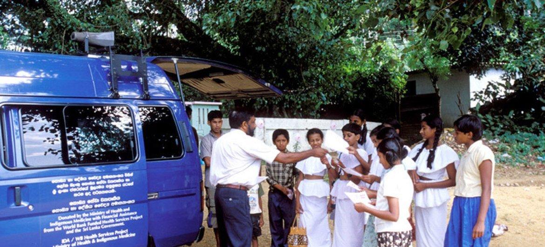 Mobile health education van in rural Sri Lanka.
