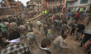 Dégâts dans la vallée de Katmandou causés par le séisme qui a frappé le Népal. Photo PNUD Népal/Laxmi Prasad
